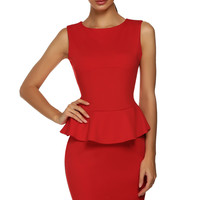 Plain Sleeveless Peplum Dress