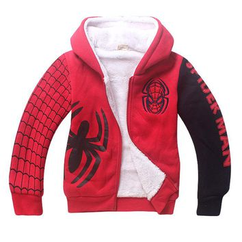 Brand New Boys Spiderman Fleece Hoodies Kids Winter Warm Cartoon Outerwear Clothing Children Spider-man Thicken Sweatshirts Coat