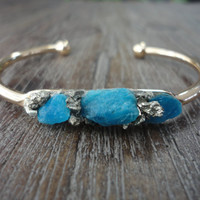 Raw Apatite and Pyrite Gold Cuff Open Bangle Bracelet/Modern Boho Bangle/Neon Blue Apatite/Raw Crushed Pyrite