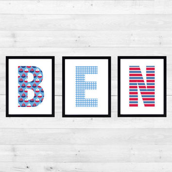 Personalized Nursery Letters, Custom Decor Prints, Nautical in Red White and Blue, Boy Name Prints, Custom Name Art, Nursery Decor, 8x10