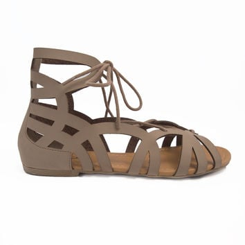 Lace Up Gladiator Sandals In Taupe