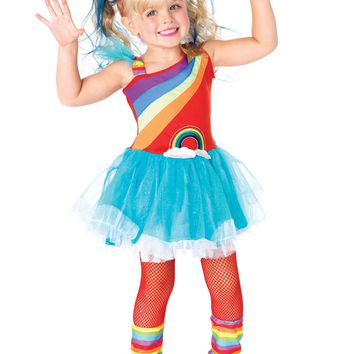 3Pc. Rainbow Doll, Petticoat Dress, Leg Warmers, Headband (2T-3T,Aqua)