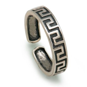 Vintage Pattern Thai Oxide 925 Sterling Silver Band Ring