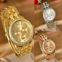 Unisex Geneva Bling Stainless Steel Quartz Rhinestone Crystal Wrist Watch