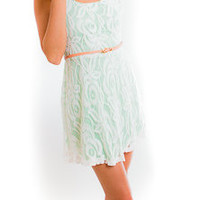 Mint Lace Dress - Dresses