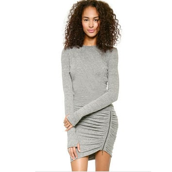 2016 New Women Winter Dress Long Sleeve Bodycon Elegant OL Bandage Casual Pencil Dress Vestidos Club Party Short Mini Dress 2142