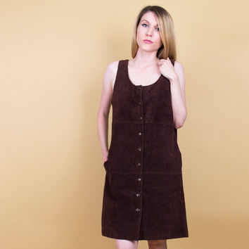 90's brown leather jumper dress / minimalist pocket dress / Vintage 1990s tunic dress / suede leather midi dress sleeveless mod