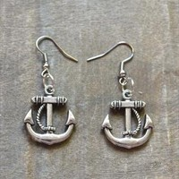 Silver Anchor Charm Earrings from Re-MadeWithLove