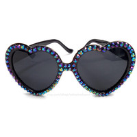 Petrol Black Rainbow Crystal Encrusted Sunglasses - Sparkly Aurora Borealis Bling Glitz Eyewear - Rhinestone Heart Shaped Sunnies Shades