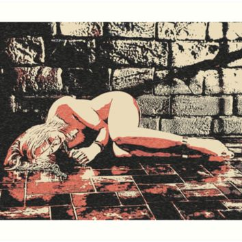 'Enter the dark room, sexy naked girl bdsm, bondage' Art Print by sexyjustsexy