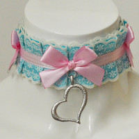 Lolita choker - Petite fille - pleated pastel kawaii choker with bow and lace - kittenplay kitten pet play ddlg collar cosplay costume