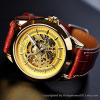 Man Woman Steampunk Mechanical Gold Watch (WAT0090-Gold)