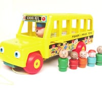 Vintage Fisher Price School Bus with Passengers