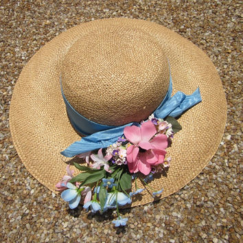 Vintage Wide Brim Straw Hat With Silk Flowers and Blue Ribbon