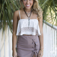 All Intertwined Taupe Lace Up Skort