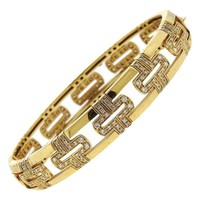 Bulgari Parentesi Demi Pave Diamond Gold Bangle Bracelet