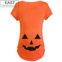 Maternity Clothes Casual Halloween Pumpkin T-shirt