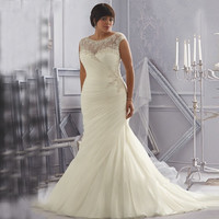 Discount Opulent Ivory/White with Crystal Beading and Appliques Organza Mermaid Plus Size Wedding Dresses with Sleeves