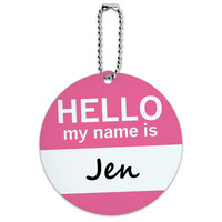 Jen Hello My Name Is Round ID Card Luggage Tag