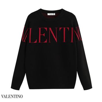 Valentino fashion LOGO knit crew neck sweater hot face casual couples knit sweater Black