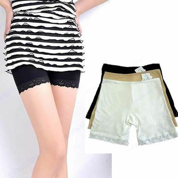 1PCS New Flesh Lace Trim Fashion Safety short pant Sexy Women Safety Short Tights Pants 3 colors