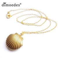 AG 17 Fairy Store 2016 Hot Selling Seashell Locket Pendant Gold Locket Gold Brass Sea Shell Necklace