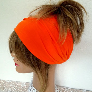 Fabric head, Boho Scarf, Orange Hair Band, Yoga President, Wide Headband, Head of a Woman, Bandana, Hippie President, Cotton Head Wrap