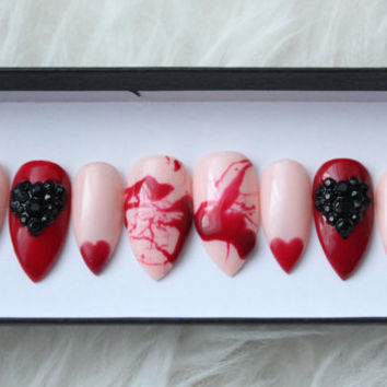 Blood Heart Press on Nails | Blood Splatter | Heart Tips | Handpainted Nail Art | Glue On Nails | Any Shape and Size