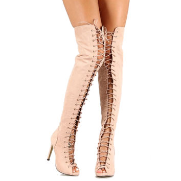 Olga-YH1 Nude Suede Peep toe Thigh-high Lace up Boots Stiletto Heels
