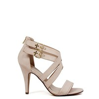 Ambition 4 Heel Blush Nude Double Buckle Womens Strappy High Heels
