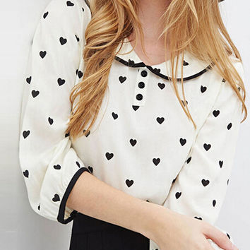 White Heart Pattern 3/4 Sleeve Collared Chiffon Blouse