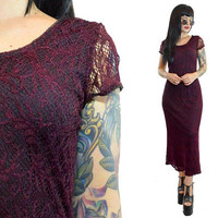 vintage 90s burgundy crochet maxi dress doily woven sheer wine plum prairie gypsy gothic witchy vamp romantic scalloped small
