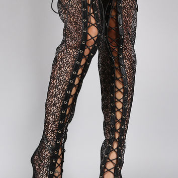 Liliana Crochet Lace Up Stiletto Over-The-Knee Boots