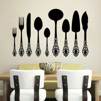 Wall Decal Vinyl Sticker Decals Knife Fork Spoon Vintage Pattern Cutlery Cafe Kitchen Decor Dining Room Interior Murals Window Decal AN739