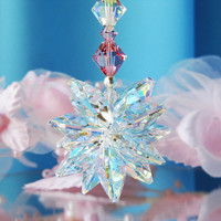 Crystal Suncatcher Car Charm Swarovski Lt. Pink Crystal Rear View Mirror Car Accessories