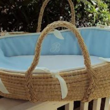 Monogram Series Blue Moses Basket
