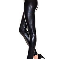 Black Liquid Pvc Leggings Pants