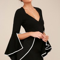 Leslie Black Long Sleeve Bodycon Dress