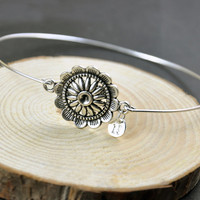 Antique Silver Sunflower Jewelry, Sun flower Bangle Bracelet, Sunflower Bracelet, Initial Bracelet bangle, Personalized Bracelet