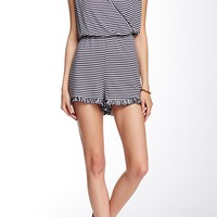 Striped Romper with Ruffle