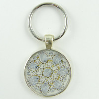 Jewel Keychain - Vintage Brooch White Silver Round Resin Metal Key Ring Fob