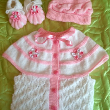 Baby Photo Prop in Pink and White, 1 year Little Girl Set, Baby Outfit, Baby Girl Gift, Crochet Slippers, Pop Pom Hat, Knitted Cardigan