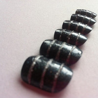 black with silver stripes fake nails