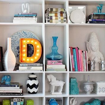 "12"" Small Letter D Lighted Vintage Marquee Letters (Rustic)"