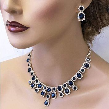 Gold Sapphire Bridal Jewelry Set, blush Bridal Necklace Earrings, Peach bridesmaid jewelry set, Navy Blue Prom Evening necklace earrings Set
