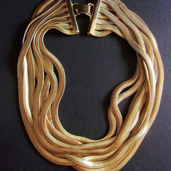 Gold Snake Chain 8 Strand LES BERNARD Necklace, Gold Plated, Vintage