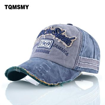 Trendy Winter Jacket TQMSMY Washed denim hats men Spring Bone embroidery Baseball Caps women Snapback Cap men's Sun visor Hip-hop hats Casquette AT_92_12
