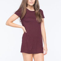 Full Tilt Ribbed Striped Dress Burgundy  In Sizes
