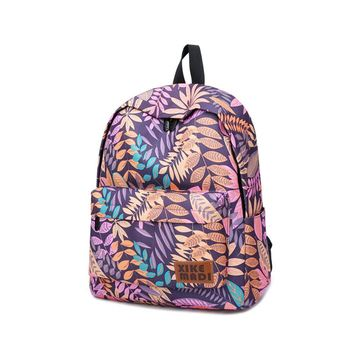 Fashion Purple Leaf College Student School Backpack