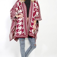 Tribal Houndstooth Cardigan | MakeMeChic.com